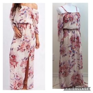As U Wish: off shoulder floral chiffon w/ slit EUC